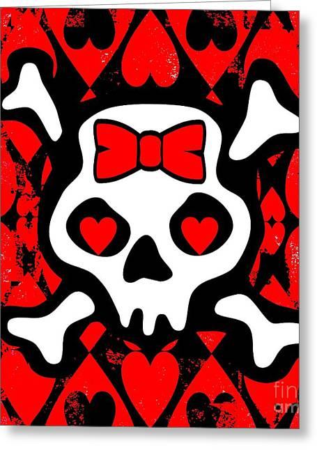 Love Heart Skull Greeting Card by Roseanne Jones