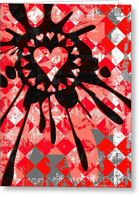 Love Heart Splatter Greeting Card by Roseanne Jones
