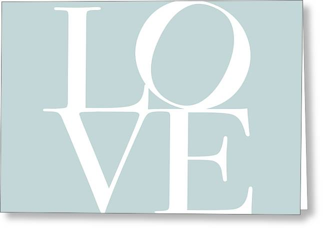 Chic Digital Greeting Cards - Love in Duck Egg Blue Greeting Card by Michael Tompsett