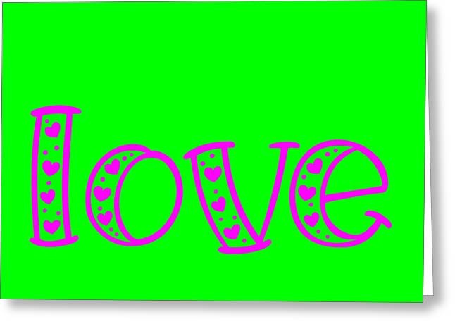 Love In Magenta And Green Greeting Card