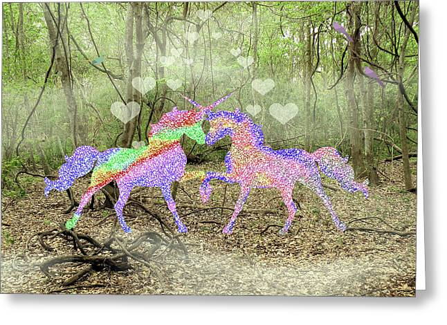 Love In The Magical Forest Greeting Card by Rosalie Scanlon