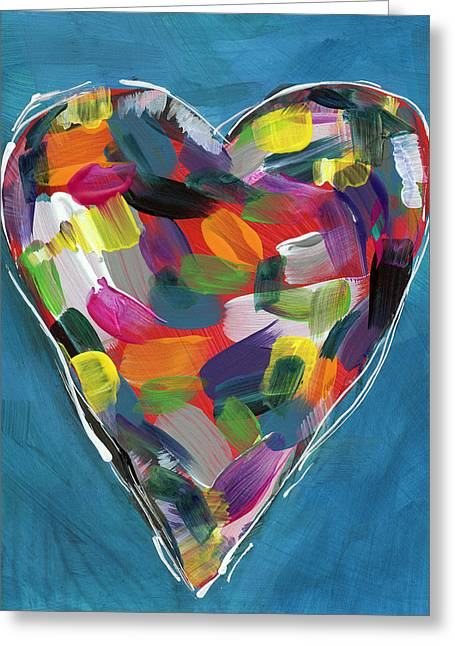 Love Is Colorful In Blue- Art By Linda Woods Greeting Card by Linda Woods