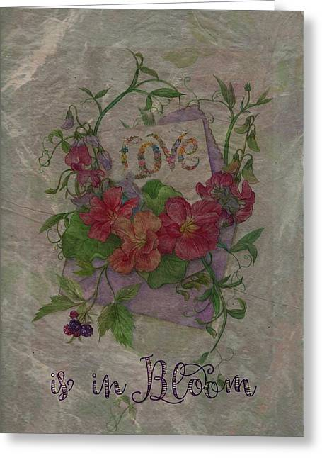 Greeting Card featuring the painting Love Is In Bloom Botanical by Judith Cheng