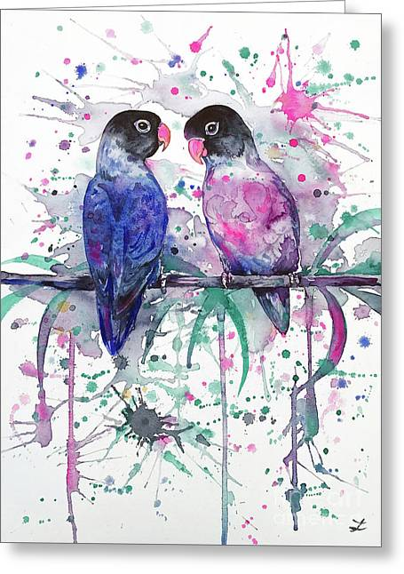 Greeting Card featuring the painting Love Is In The Air. Lovebirds by Zaira Dzhaubaeva