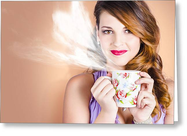 Love Is In The Air. Woman With Coffee Cup Greeting Card