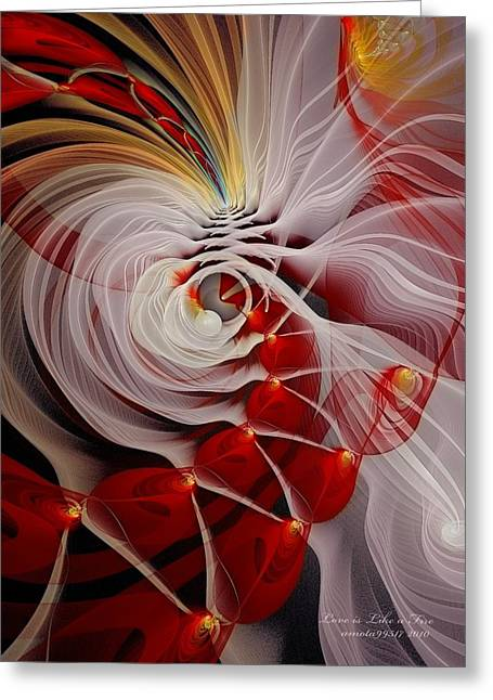 Recently Sold -  - Abstract Digital Pastels Greeting Cards - Love is Like a Fire Greeting Card by Gayle Odsather