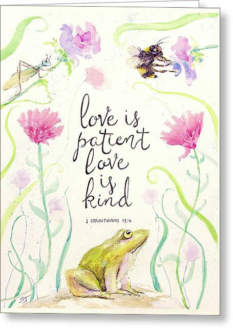Love Is Patient Greeting Card by Susan Jenkins