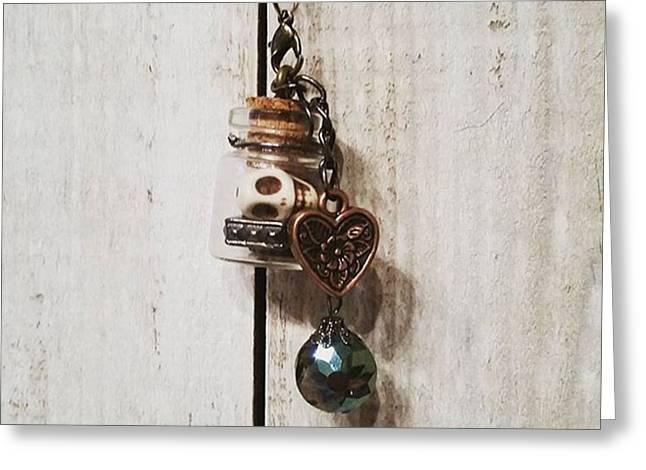 'love Jitters' 💘💀#vial #pendant Greeting Card