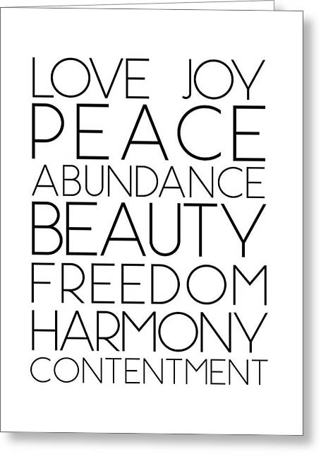 Love Joy Peace Beauty Virtues Greeting Card
