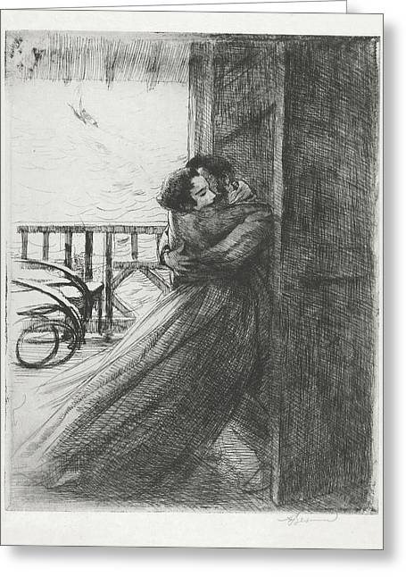Greeting Card featuring the drawing Love - La Femme Series by Paul-Albert Besnard