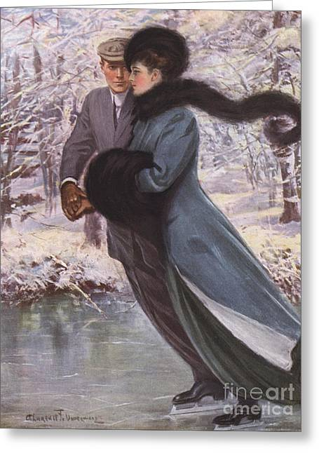 Love Laughs At Winter Greeting Card by Clarence F Underwood