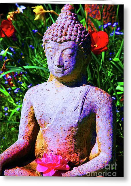 Love Light Peace Buddha Greeting Card by Christopher Christoforou