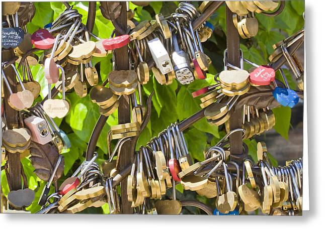 Greeting Card featuring the photograph Love Locks Square by Chris Dutton