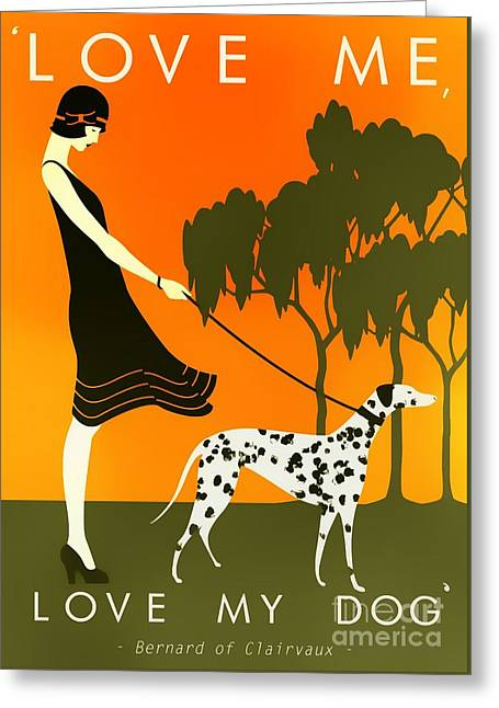 Love Me Love My Dog - 1920s Art Deco Poster Greeting Card