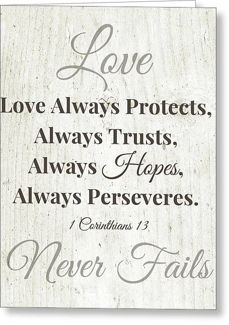 Love Never Fails- Art By Linda Woods Greeting Card by Linda Woods