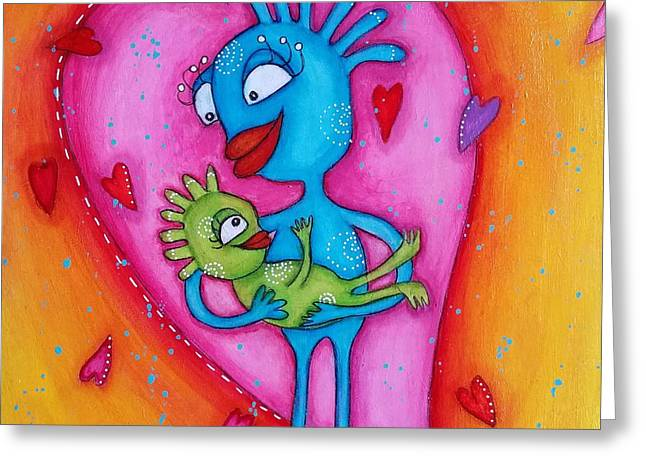 Love Of A Mother Greeting Card by Barbara Orenya