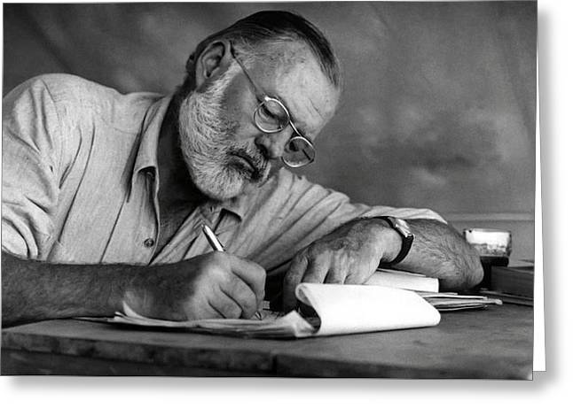 Love Of Writing - Ernest Hemingway Greeting Card by Daniel Hagerman