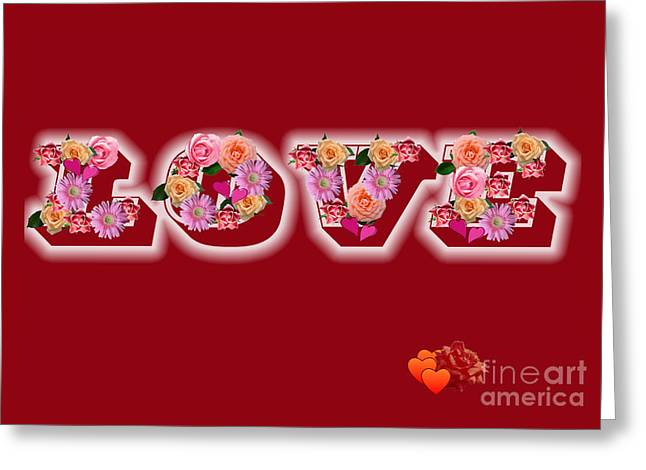 Love On Red With Flowers Greeting Card