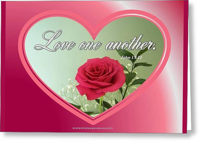 Greeting Card featuring the digital art Love One Another Card by Sonya Nancy Capling-Bacle
