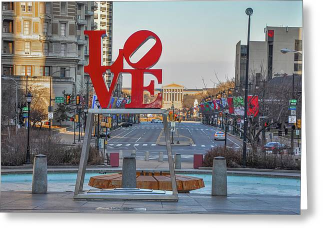 Love Overlooking Benjamin Franklin Parkway Greeting Card