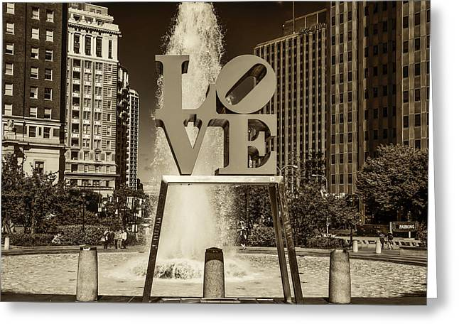 Love Park - Philadelphia In Sepia Greeting Card by Bill Cannon