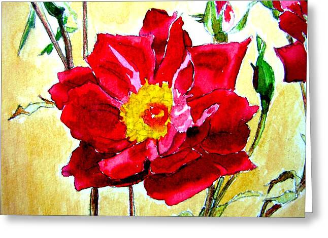 Greeting Card featuring the painting Love Rose by Ana Maria Edulescu