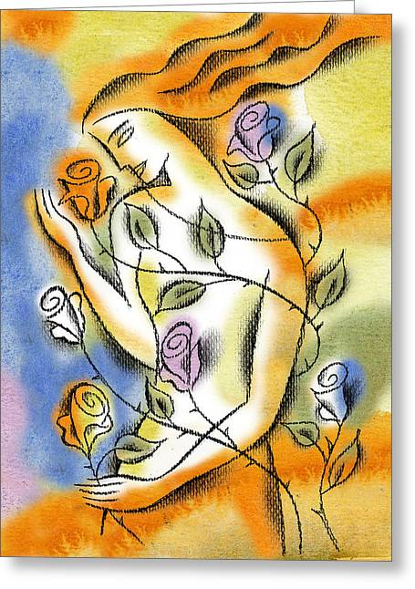 Greeting Card featuring the painting Love, Roses And Thorns by Leon Zernitsky