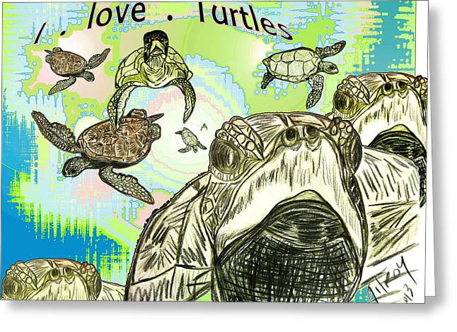 'love Sea Turtles Greeting Card
