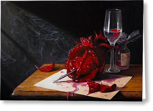 Love Slowly Kills II Greeting Card by Adrian Borda