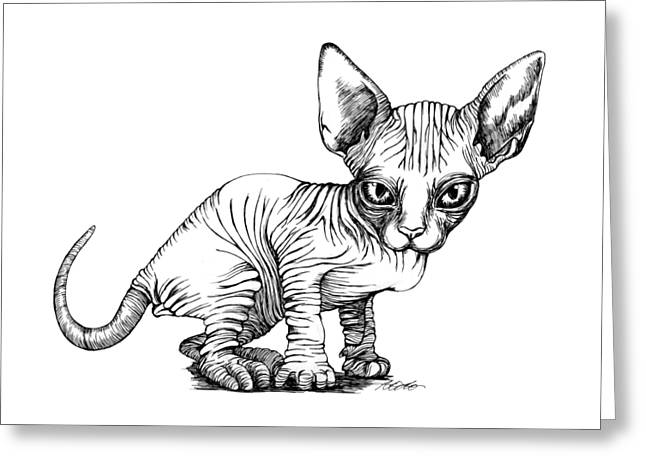 Love Sphynx Greeting Card by Akiko Okabe