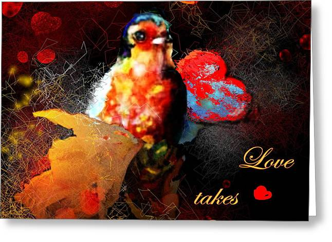 Love Takes Flight Greeting Card by Miki De Goodaboom