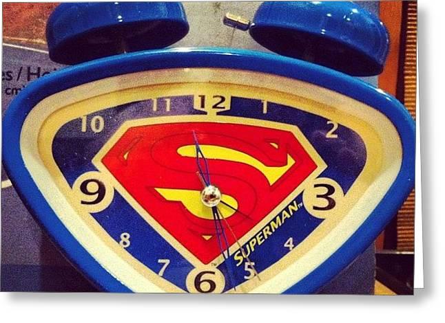Superman Clock Greeting Card