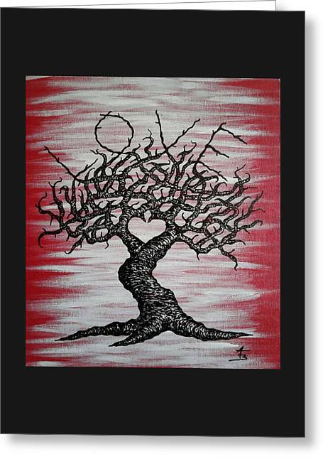 Greeting Card featuring the drawing Love Tree Art by Aaron Bombalicki