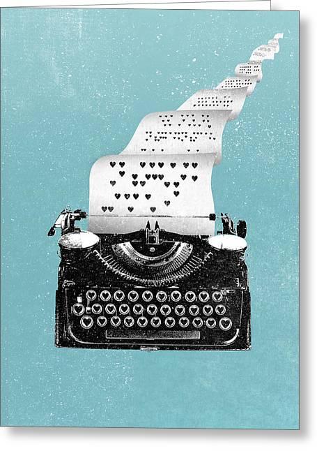 Love Typewriter Poster Greeting Card by Lautstarke Studio