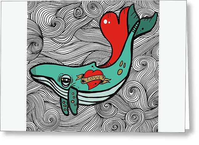 Love Whale Greeting Card by Nicole Wilson
