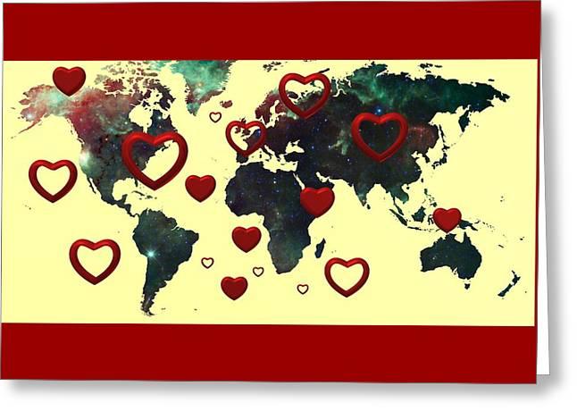Love World Map 2 Greeting Card