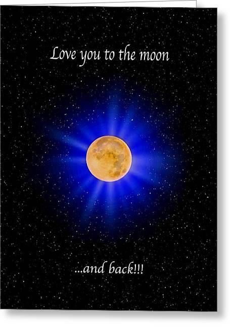 Love You To The Moon - Blue Vertical Greeting Card by Lynn Bauer