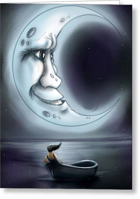 Love You To The Moon  Greeting Card by Susan  Rossell
