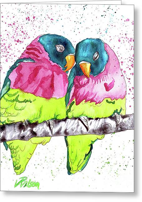 Lovebirds Greeting Card by D Renee Wilson