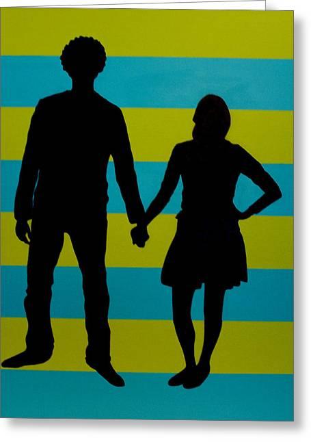 Lovebirds In Silhouette Greeting Card by Ramey Guerra