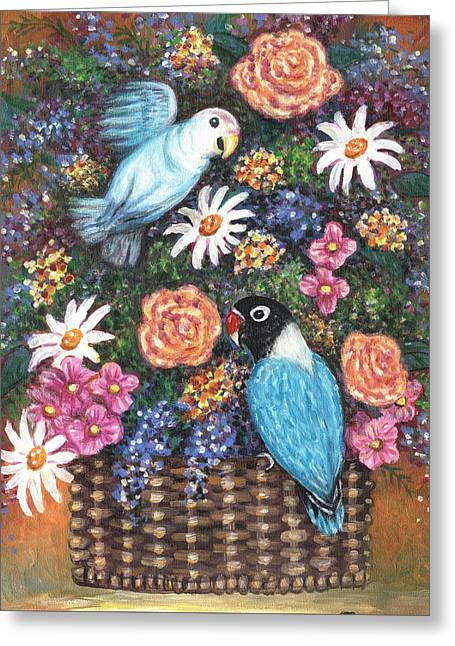 Lovebirds Two Greeting Card by Linda Mears