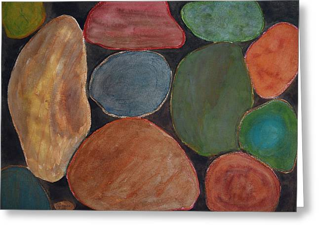Lovely Colourful Stones On Dark Background  Greeting Card by Heidi Capitaine