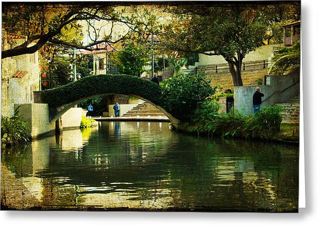 Lovely Day In The Riverwalk Greeting Card by Iris Greenwell