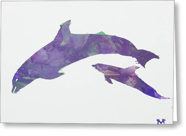 Greeting Card featuring the painting Lovely Dolphins by Candace Shrope