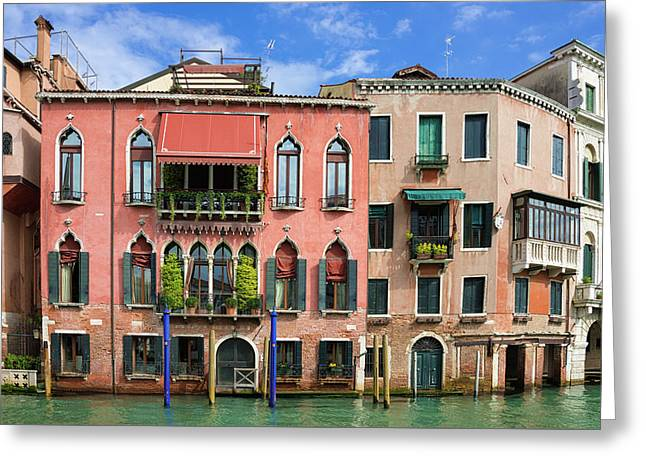 Lovely Houses On The Water In Venice Italy Greeting Card by Matthias Hauser