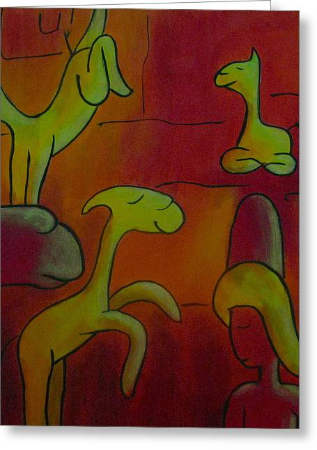 Lovely Llamas Greeting Card by Ingrid Russell