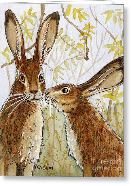 Lovely Rabbits - Little Kiss  Greeting Card by Svetlana Ledneva-Schukina