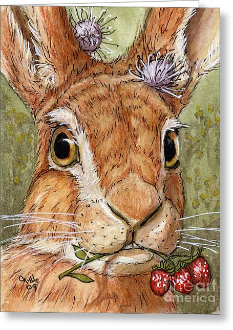 Lovely Rabbits - Wild Strawberry For My Darling Greeting Card