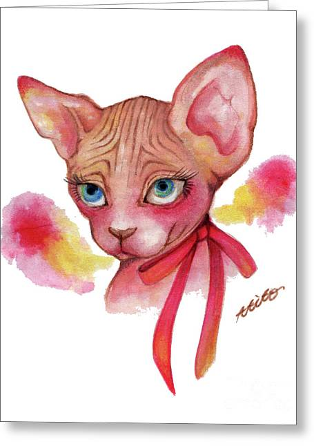 Lovely Sphynx Greeting Card by Akiko Okabe