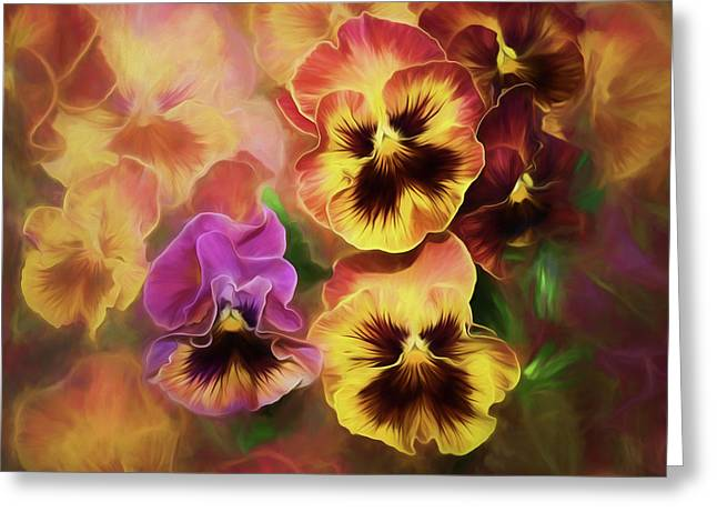 Greeting Card featuring the photograph Lovely Spring Pansies by Diane Schuster